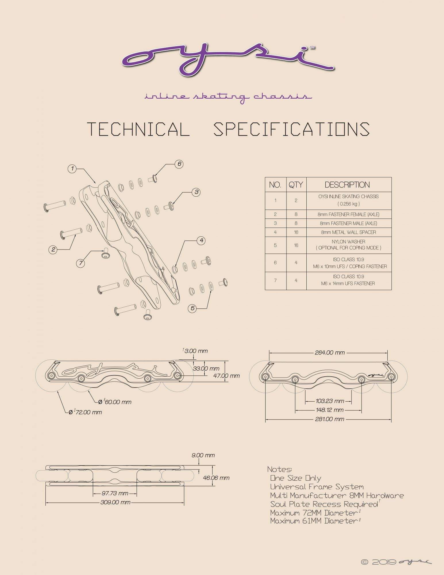 Oysi Inline Skating Chassis Technical Specifications