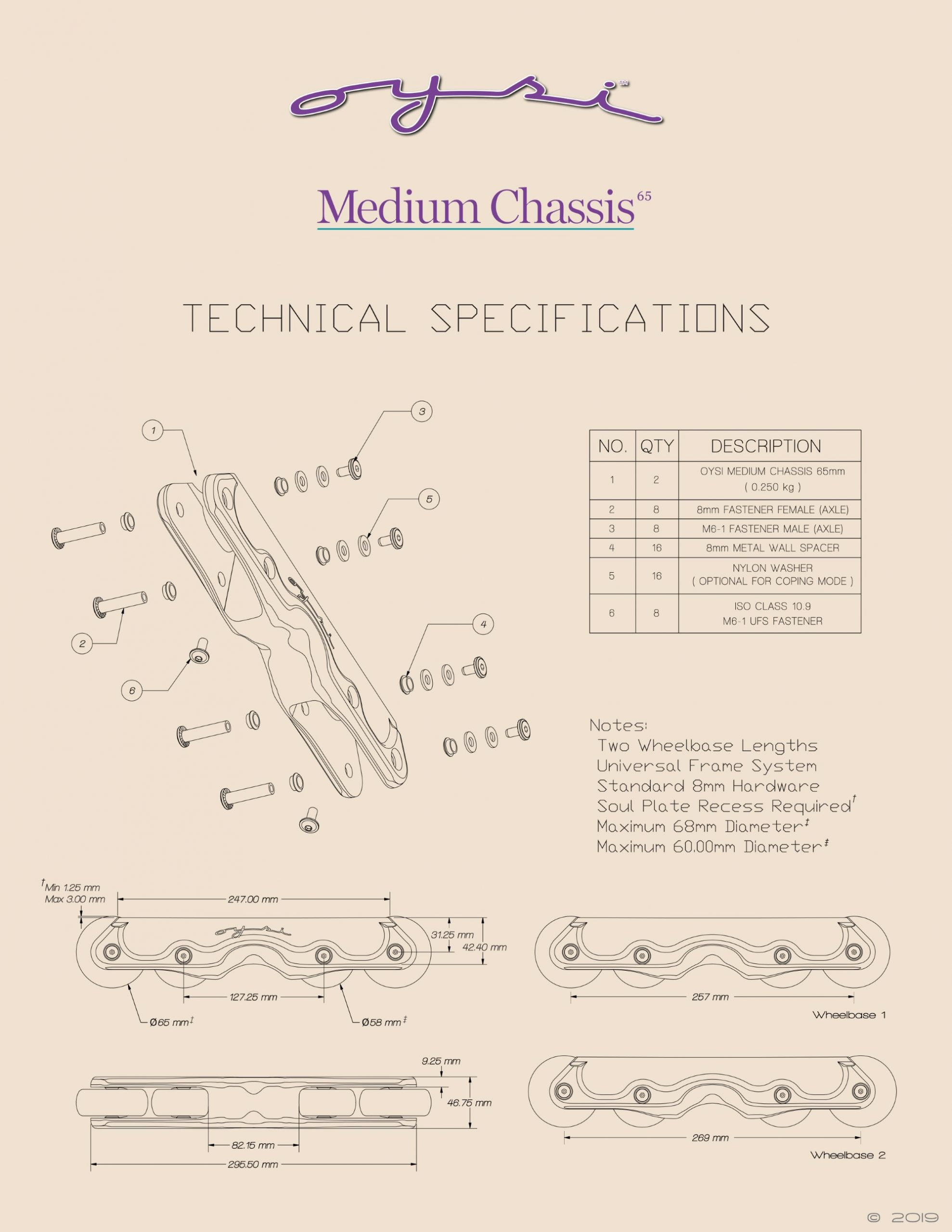 Oysi Medium Chassis 65mm Technical Specifications